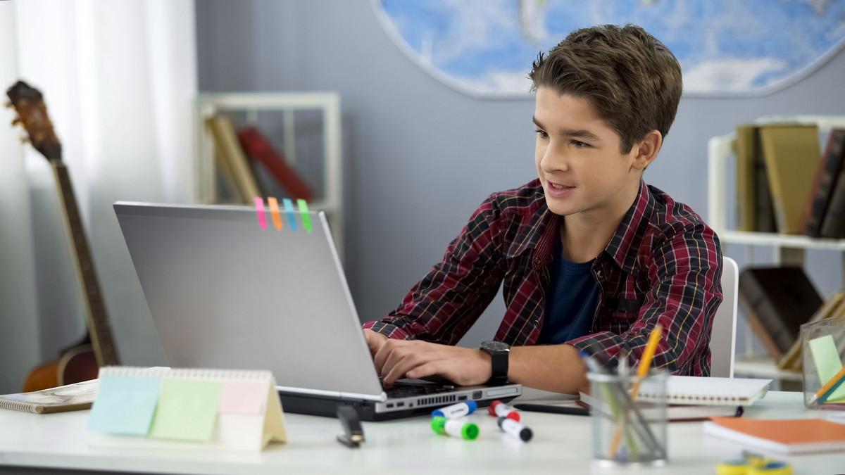 школьник учиться вместе с ноутбуком
